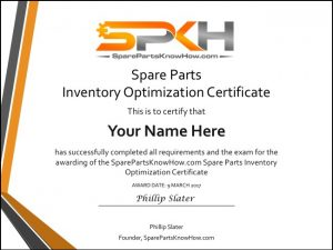spare parts management certificate