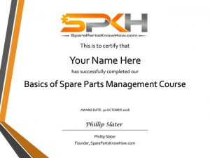Basics of Spare Parts Management Course