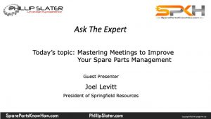 spare parts management meetings